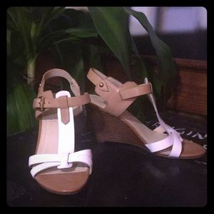 Marc Fisher White and Tan Wedges with Wooden Heel